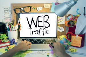 Laptop screen showing web traffic