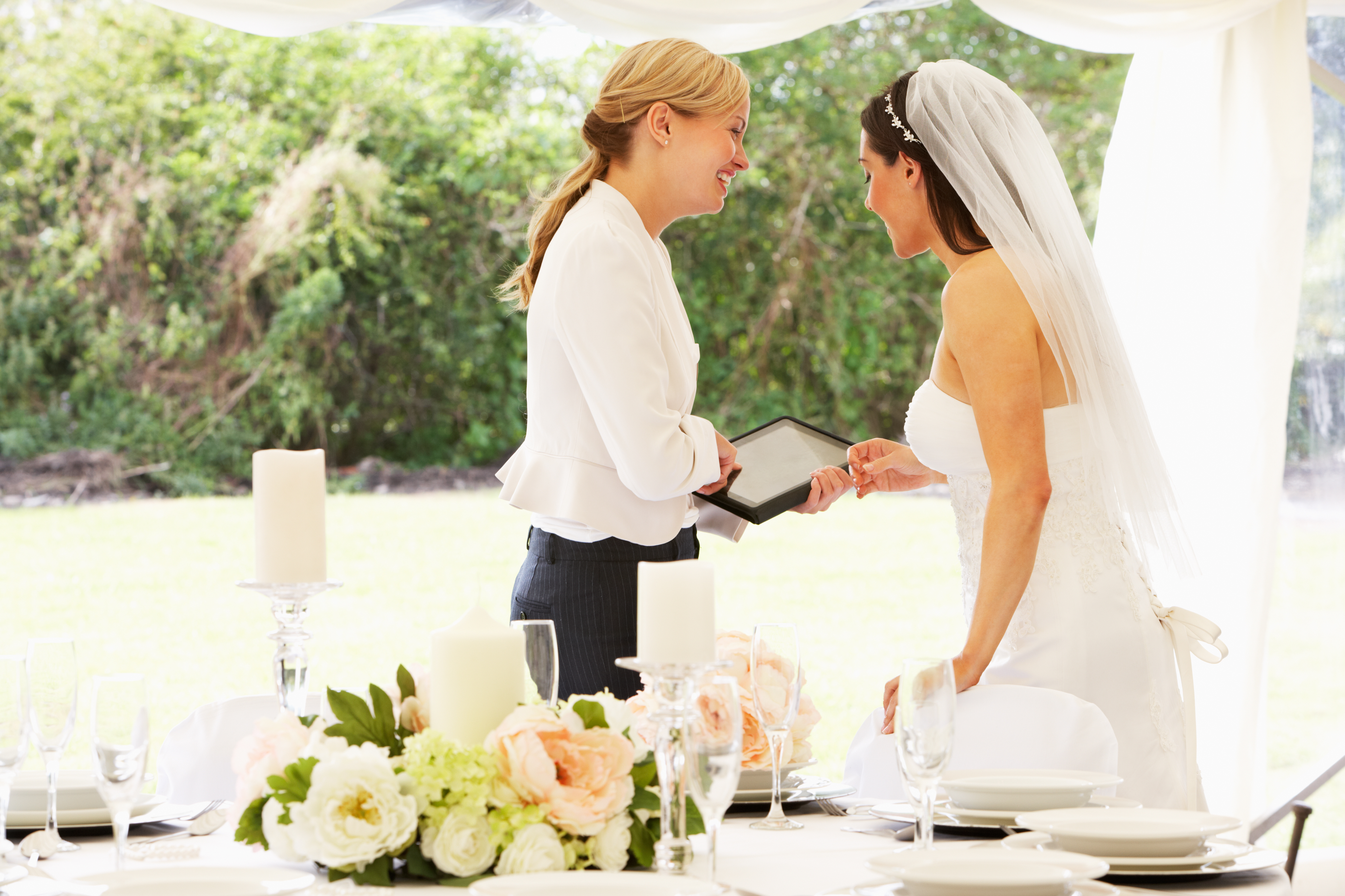 Wedding Planner talking to the bride