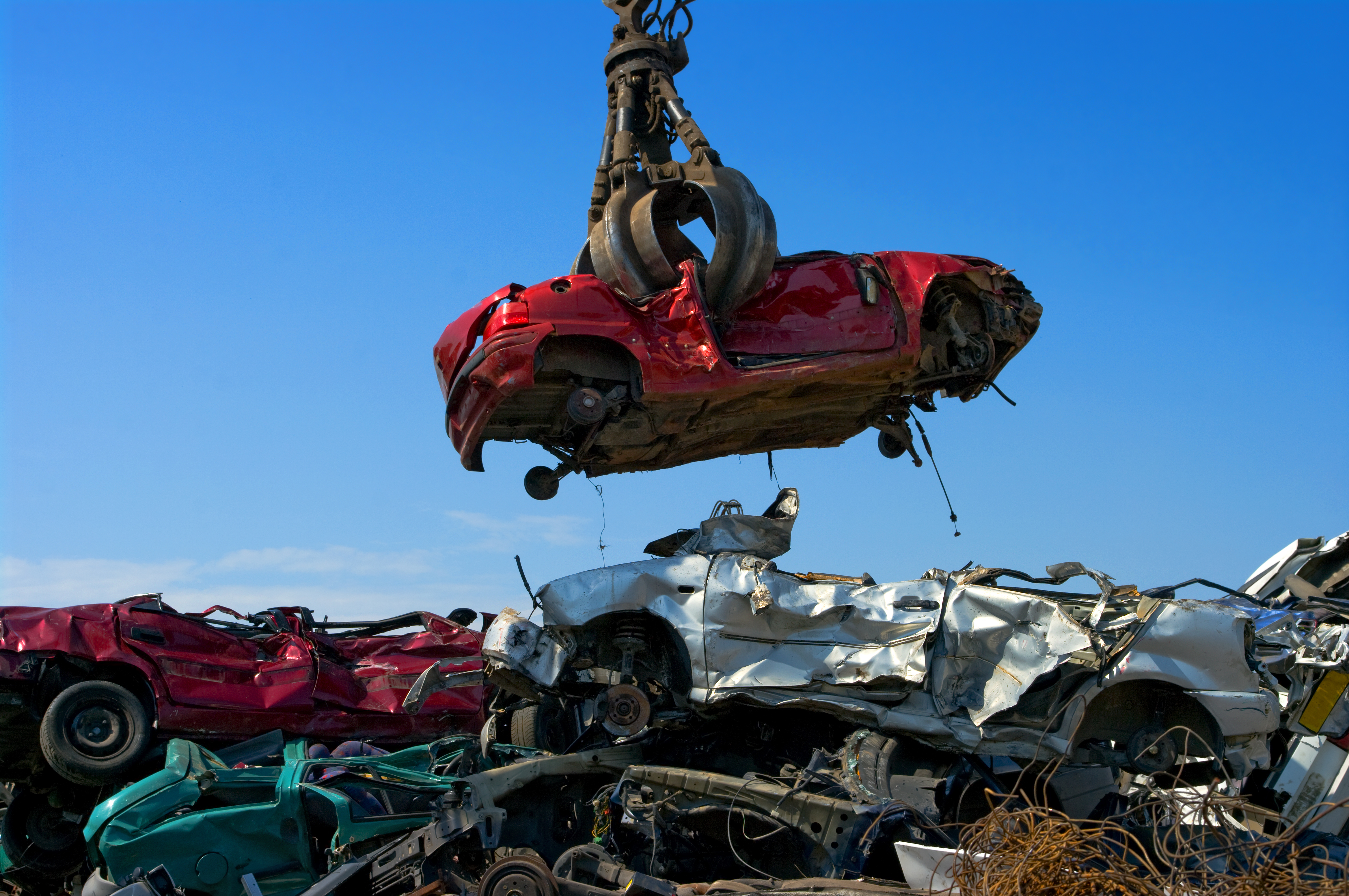 A heap of cars being recycled