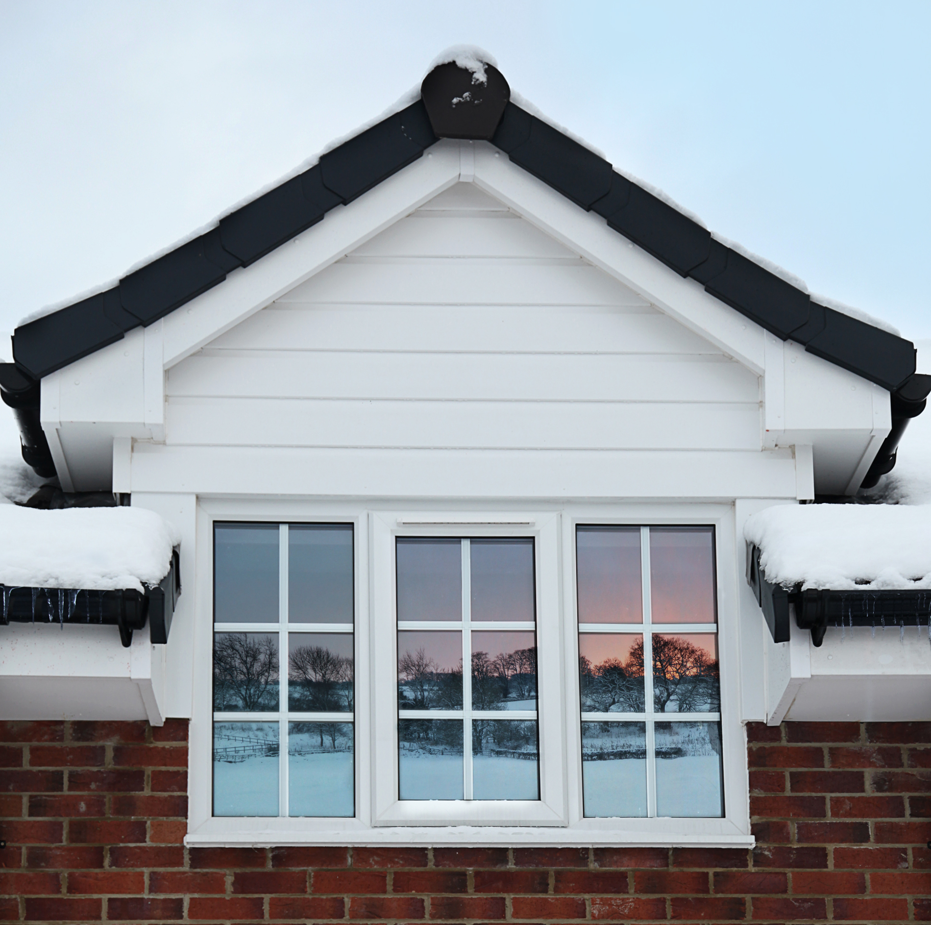 Double Glazing during Winter with Snow and icicles