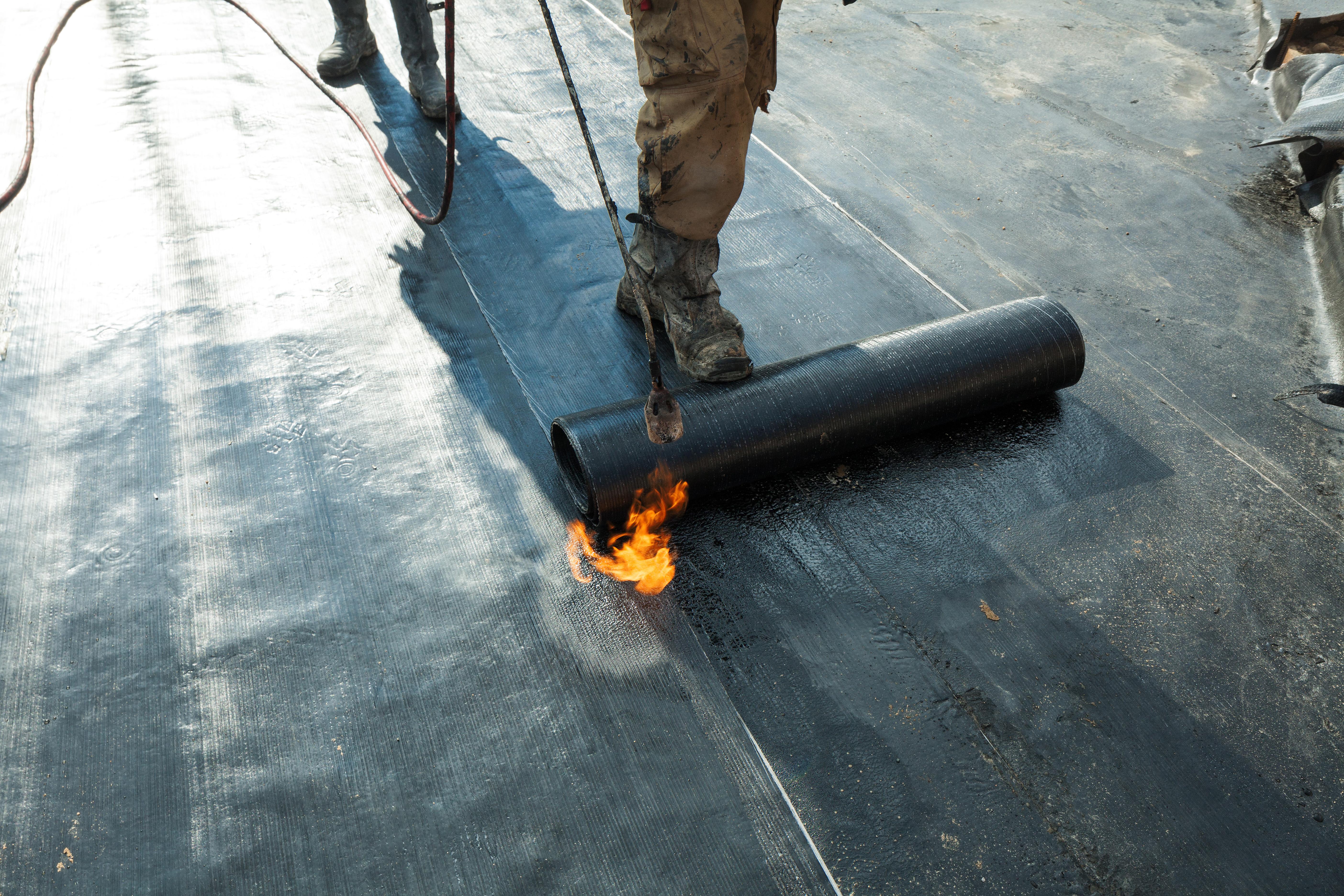 A floor being waterproofed