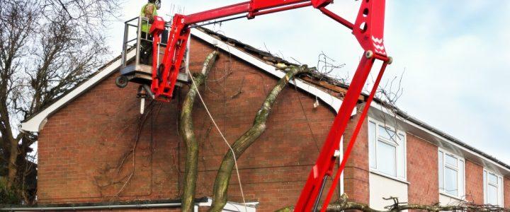 Damaged roof under repair
