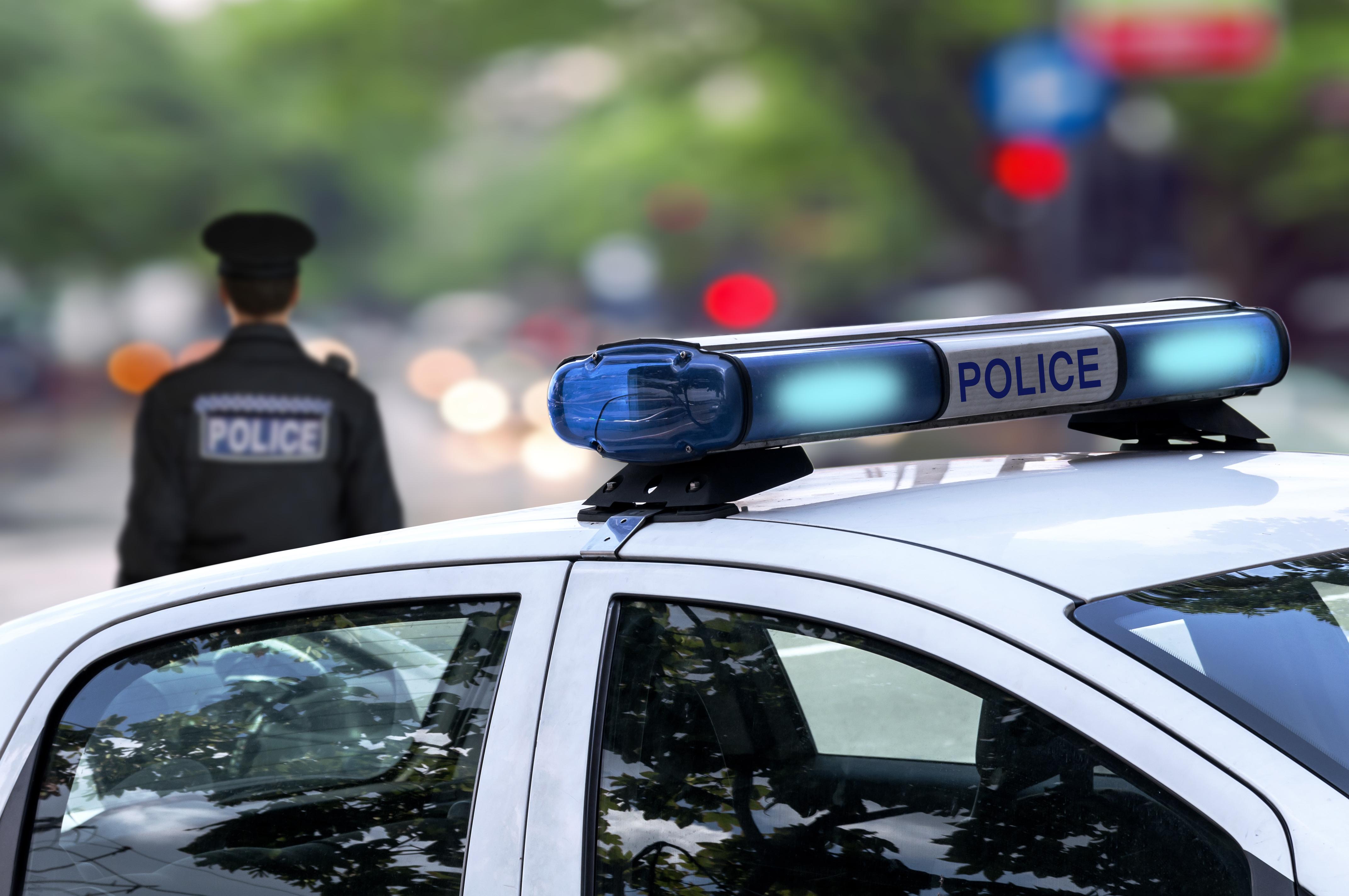 Lights on a police car