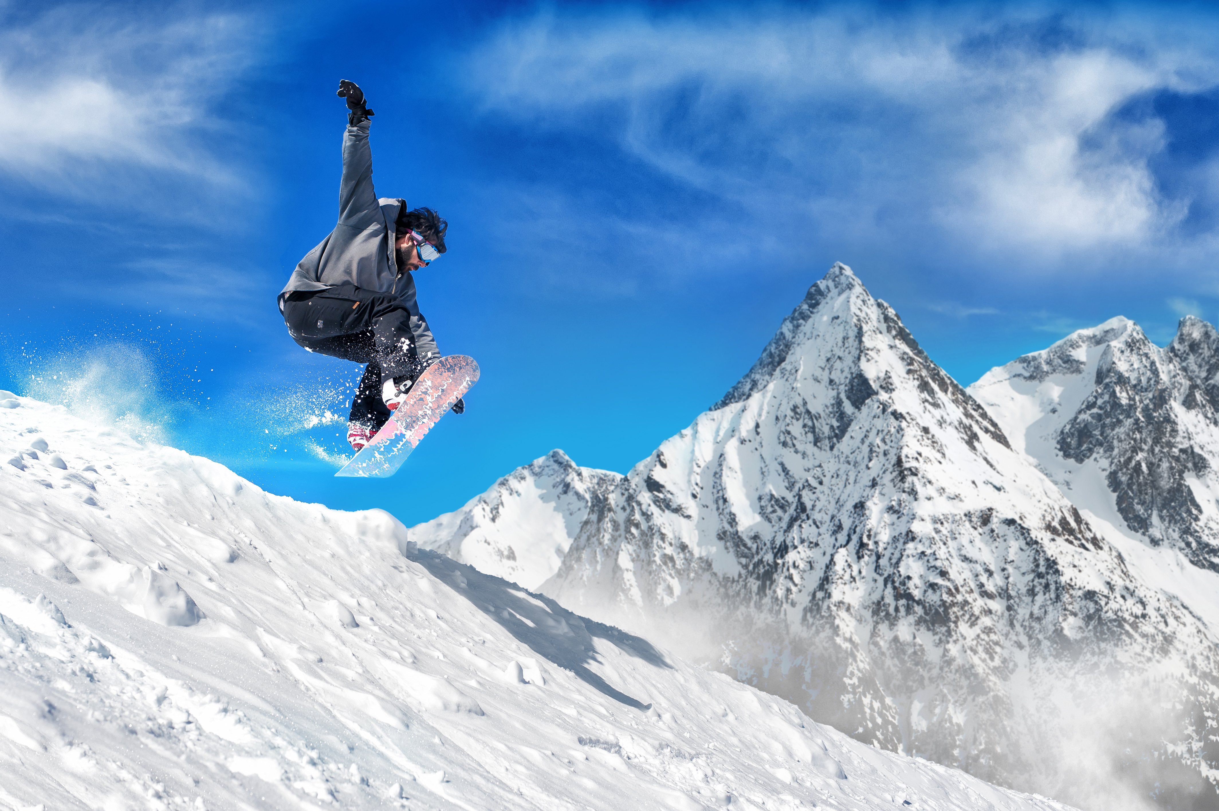 Skier enjoying at the swiss alps