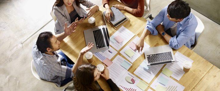 group of sales people brainstorming