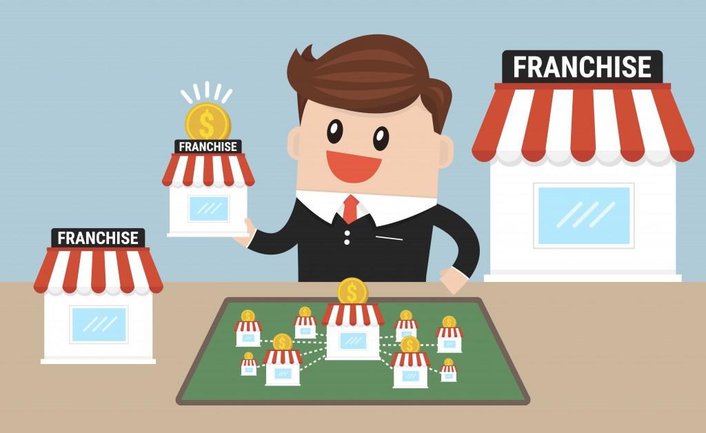 Businessman expanding his franchise illustration