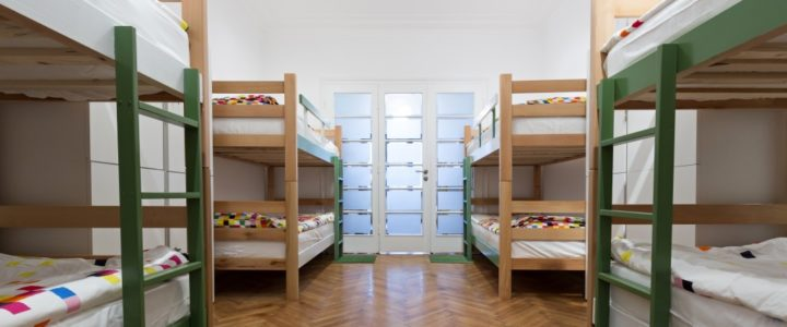 College dorm with four bunkbeds