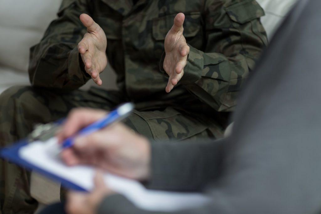 Military veteran talking to a financial advisor
