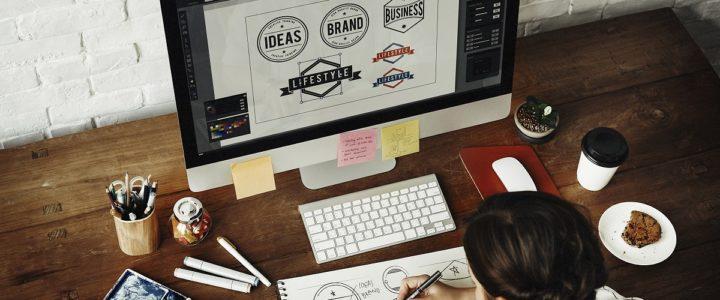 Artist designing a label