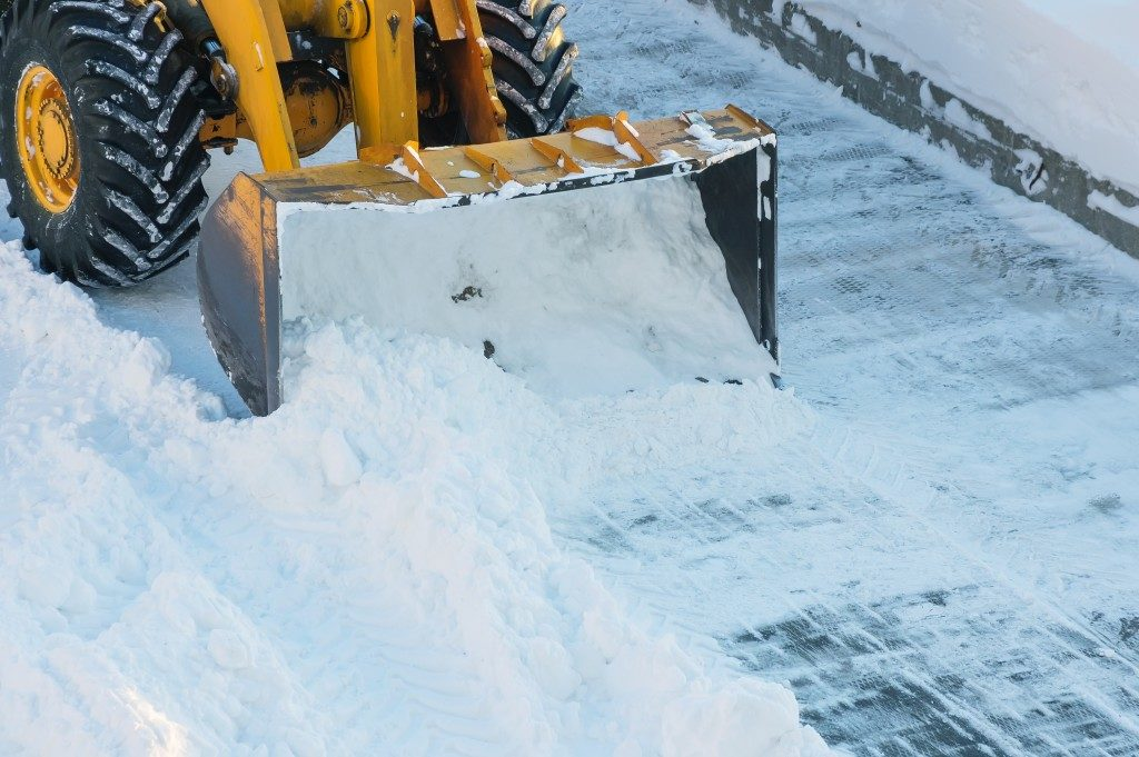 Bulldozer Plowing Snow