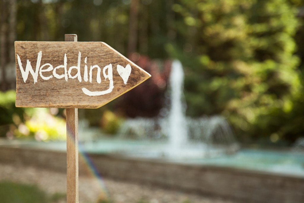 Wedding signage in a garden setup