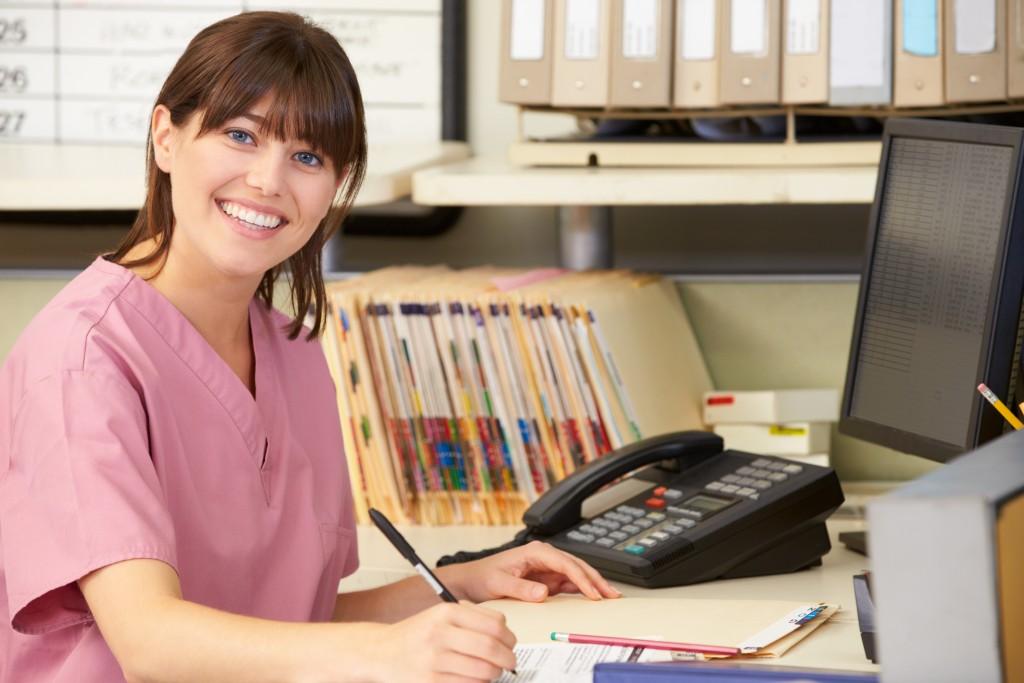 a nurse in her office
