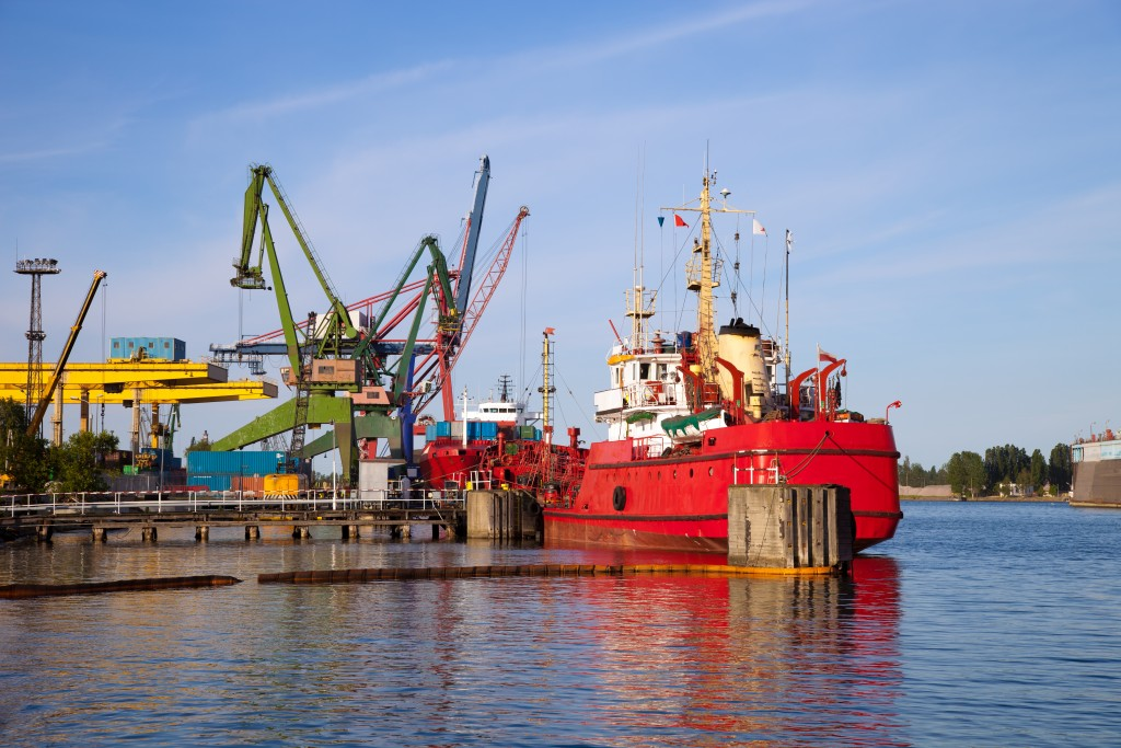 Cargo vessel in the port