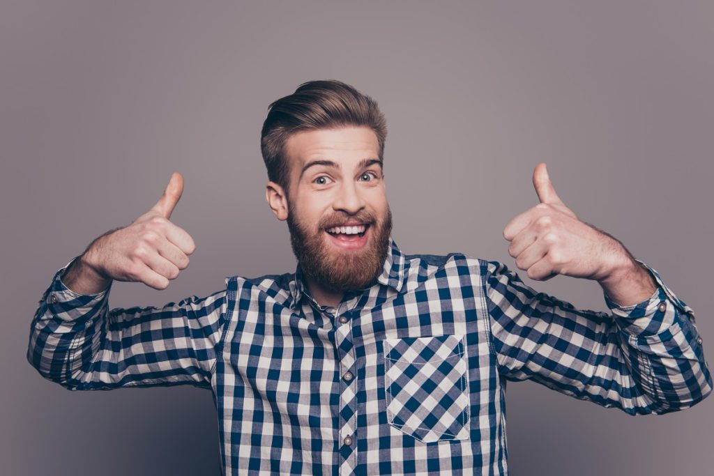 Man happy with thumbs-up