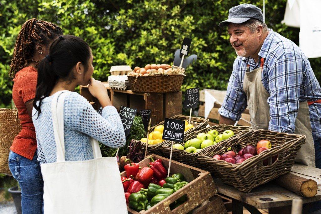 farmer selling crops